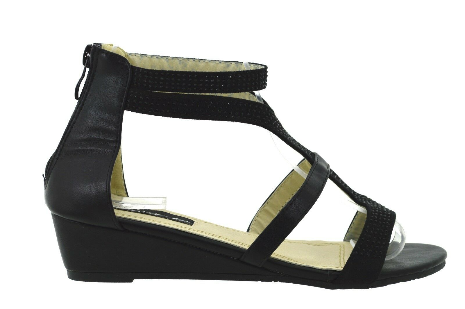 Sandali aperti Gladiatore Donna eleganti sexy scarpe basse estive con strass f54266fa1bf