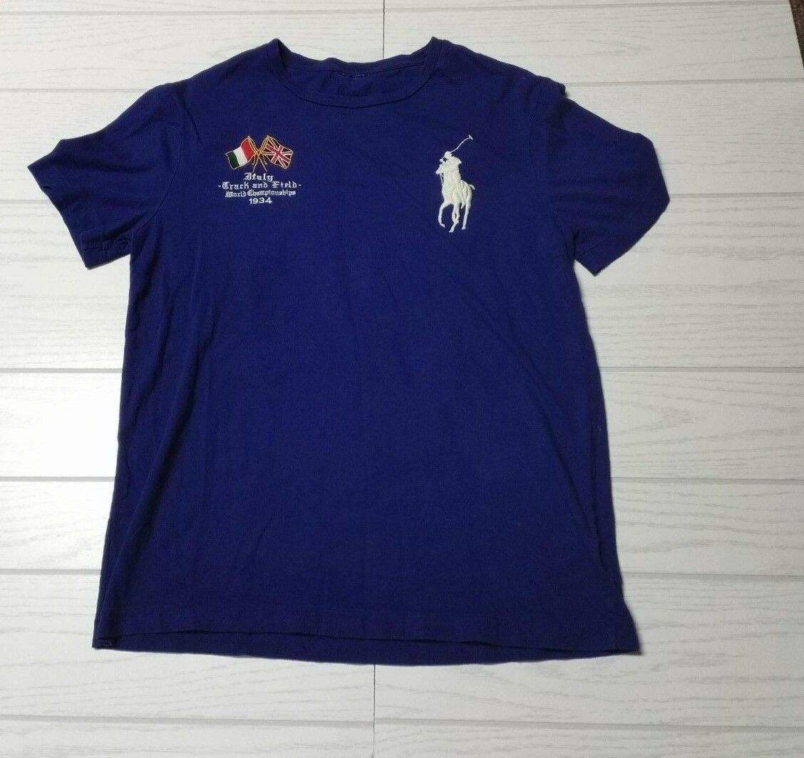 Vintage Polo Ralph Lauren  tee single stitch 1992 cross flags rare