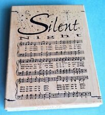 SILENT NIGHT SHEET MUSIC RUBBER STAMP CHRISTMAS SONG XLARGE BACKGROUND VINTAGE ~