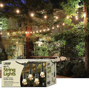 buy popular a8277 557eb Details about Feit Electric Weatherproof Outdoor Patio String Lights 48 ft  24 Lights 36 Bulbs