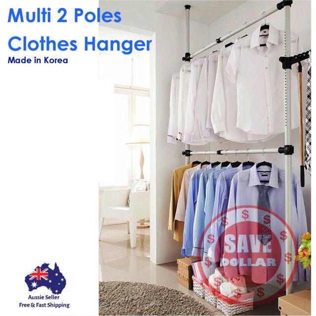 2 Poles Garment Clothes Rack DIY Hanger Wardrobe Shelf Organiser Made In KOREA