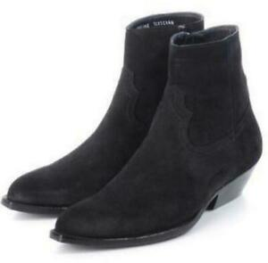 Retro Mens High Ankle Boots Genuine Suede Leather Mid Heels Leopard Boots US 11
