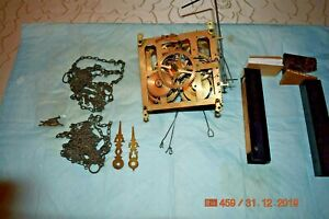 ANTIQUE CUCKOO CLOCK MOVEMENT WALL Cuckoo Clock with chains and etc for project