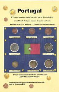 8 pièces EURO - PORTUGAL - 2002 - Série - FDC -  (Sous vide)