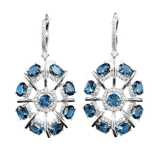 Details about  /6x4 mm Round Cut Natural Gemstone 925 Sterling Silver London Blue Topaz Earring