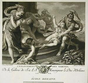 """Glorieux Giuseppe Porta """" L'enlèvement Des Sabines"""" Gravure A. L Romanet Ed Couché 1786"""