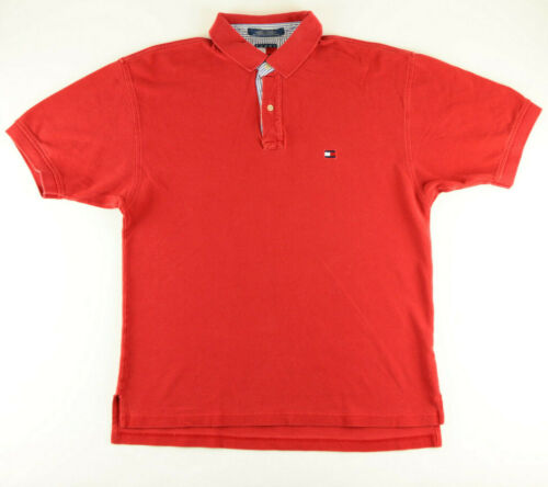 TOMMY HILFIGER RED POLO SHIRT WITH SUBTLE BLUE & W