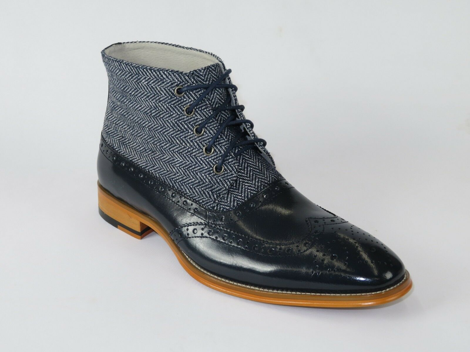 Mens High Top Boot Giovanni Leather Herringbone Tweed Fabric Griffin Navy bluee