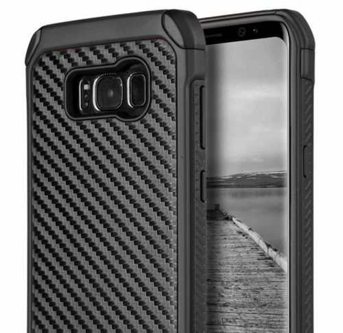 buy popular 1fd69 9960e for Samsung Galaxy S8 Plus - Hard Hybrid Armor Cover Case Black Carbon Fiber