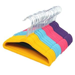 Child 4Color 15PCS Non-Slip Thin Kids Hangers Baby Clothes Coat Velvet Hangers