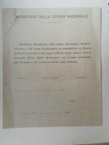 VOLANTINO RSI REPUBBLICA SOCIALE ITALIANA GNR ALLEANZA GERMANIA GNR