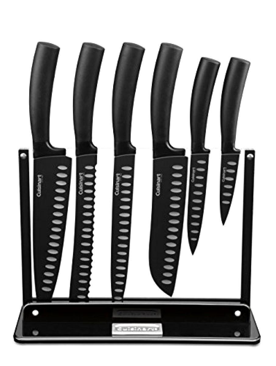 7-Pièce Supérieure en acier inoxydable antiadhésif Cutlery Set Couteaux Avec Acrylique Stand