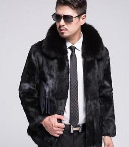 dc839e76d8e38 Details about 100% Genuine Men's fur clothing Rabbit Fur Coat With Fox Fur  Collar Coat Jacket