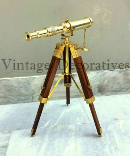 Handmade Design Solid Brass Telescope W//Wooden Tripod Pirate Style Working Scope
