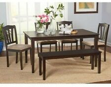 Dining Table Set For 6 With Bench and 4 Kitchen Chairs Dinner Room Solid Wood
