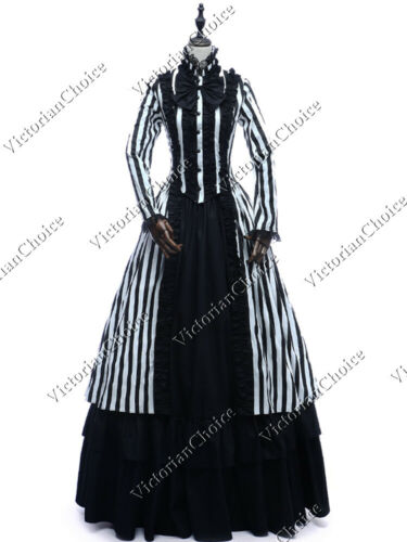 Victorian Dresses | Victorian Ballgowns | Victorian Clothing    Gothic Victorian Steampunk Black White Striped Dress Mary Poppins Punk Gown 175  AT vintagedancer.com