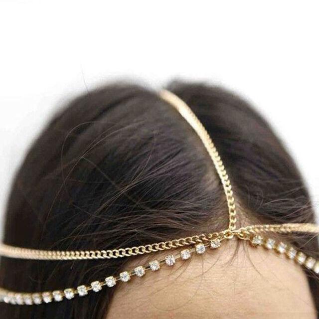 Boho Charm Crystal Rhinestone Head Chain Headband Headpiece Hair Band Headwear