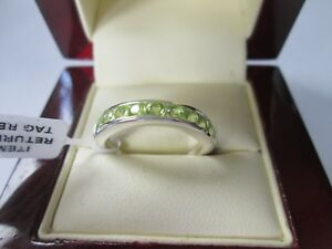 GENUINE-PERIDOT-STERLING-SILVER-9-STONE-HALF-ETERNITY-RING-SIZE-M