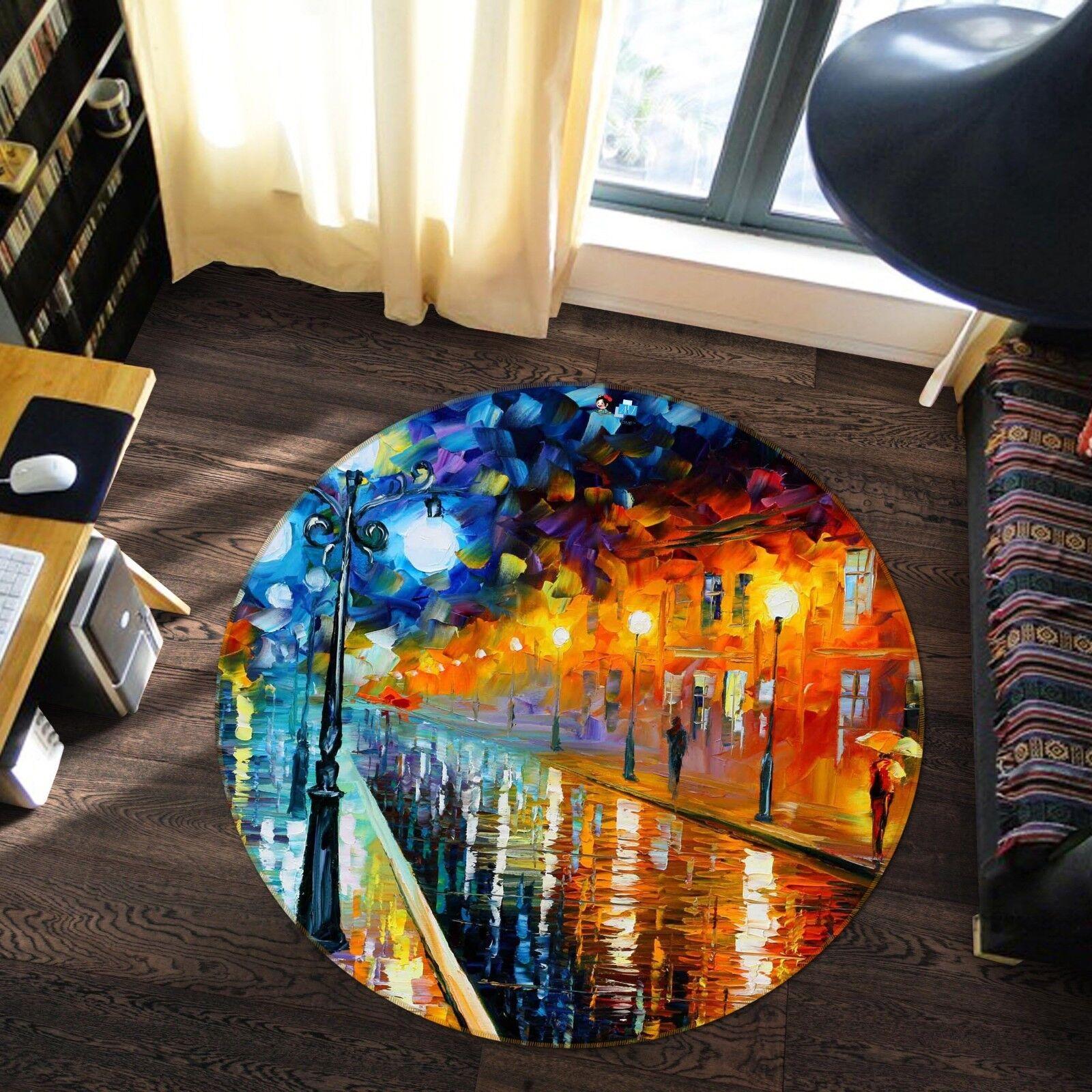 3D Pioggia STREET 5 tappetino antiscivolo tappeto camera Tappetino Tondo Qualità Elegante foto Tappeto UK