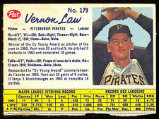 1962 POST BASEBALL CANADIAN 179 VERNON LAW EX-NM PITTSBURGH PIRATES FREE SHIPP