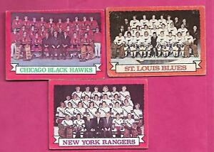 1973-74-OPC-RANGERS-BLUES-HAWKS-TEAM-PHOTO-EX-CARD-INV-A9636