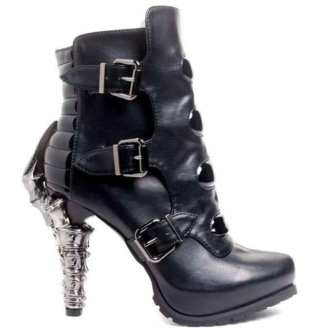 Hades NEO Black Matrix Cyber Ankle Boots Claw Heel Buckles Patent Leather Vegan
