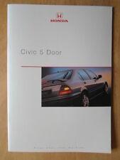 HONDA CIVIC 5 DOOR original März 2000 UK Mkt Prestige Verkaufsbroschüre