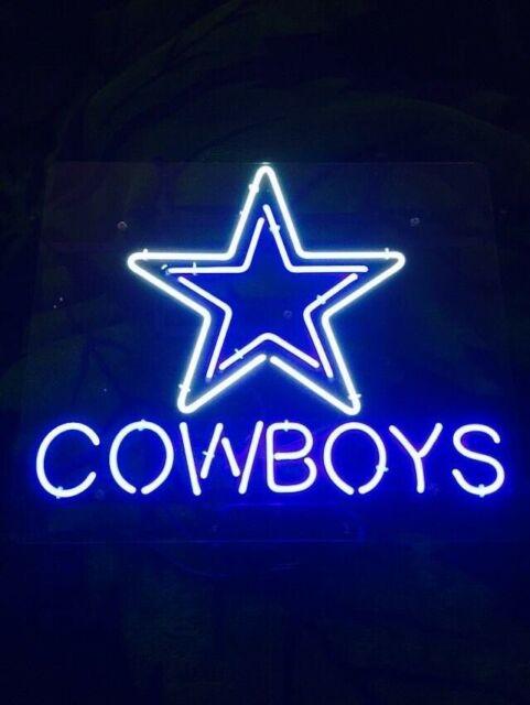 "Dallas Cowboys Acrylic Neon Sign Beer Gift 17\""x14\"" Light"