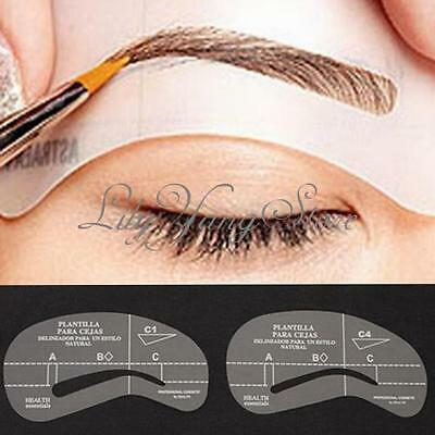 Fancy 4 Styles Eyebrow Grooming Stencil Kit Template Make Up Shaping Tools DIY