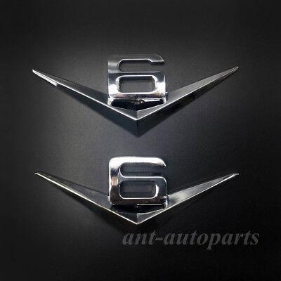 2Pcs V6 Engine Vintage Auto Badge Sticker Silver Metal V6 Logo Car Emblem Decal