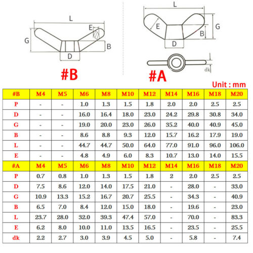 M4 M6 M8 M10 M12 M16 M20 M24 Wing Nuts A2 304 Stainless Steel Butterfly Nut