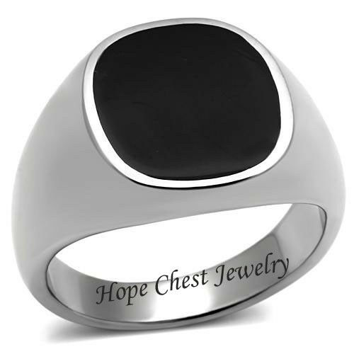 MEN/'S SILVER STAINLESS STEEL FLAT TOP BLACK EPOXY FASHION RING SIZE 8-10
