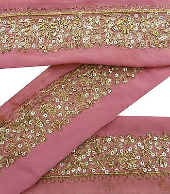 VINTAGE SARI BORDER ANTIQUE 1YD USED HAND BEADED INDIAN TRIM PINK RIBBON LACE