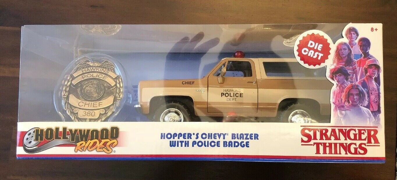 HOLLYWOOD RIDES DIE CAST STRANGER THINGS HOPPER'S CHEVY BLAZER WITH POLICE BADGE