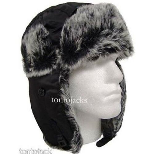 Russian Cossack Trapper Bomber Winter Hat Faux Fur Mens 57//58cms Cold Weather