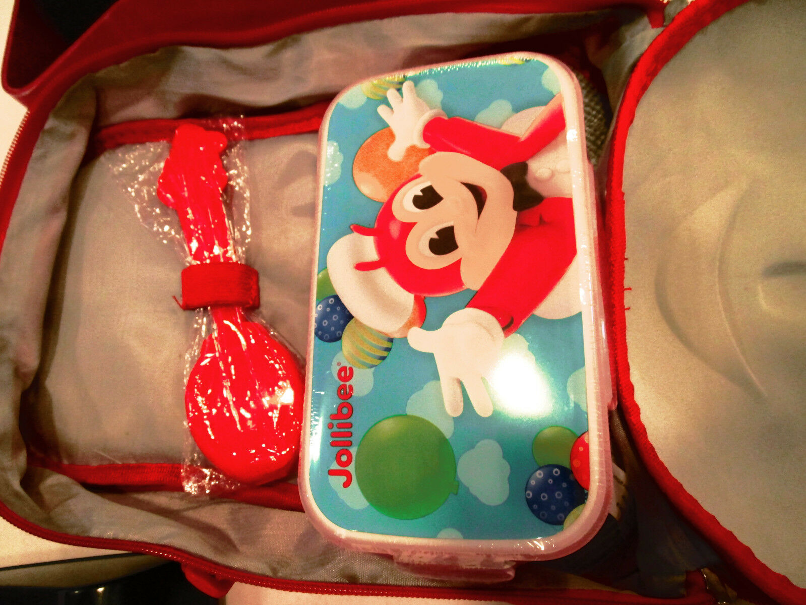 Philippines new Jollibee Lunch Bag with plastic container spoon and fork sealed
