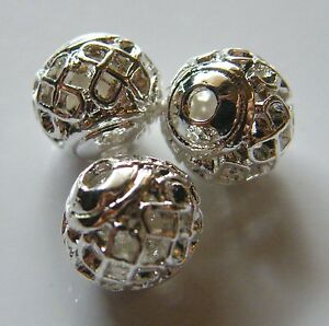 50pcs-8mm-Round-Metal-Alloy-Hollow-Spacer-Beads-Bright-Silver