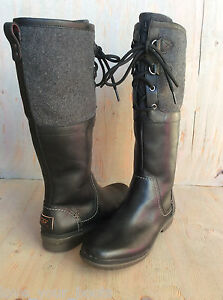 Ugg Elsa Black Tall Waterproof Leather Duck Boots Us 5 5