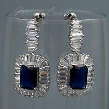White Gold Plated Sapphire Blue Cubic Zirconia Wedding Drop Dangle earrings 8113