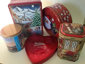 LOT 5 collectible tins Lindt Andes Candies Mrs Fields Terry Redlin Santa holiday