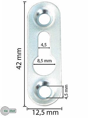 100 Linsenkopfbeschlag Schrankaufhänger 42 x 12,5 Loch 8,5 mm