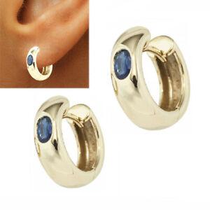 585 Gold Ohrstecker 14 Karat Gelbgold Ohrringe 1 Paar mit  Saphir blau