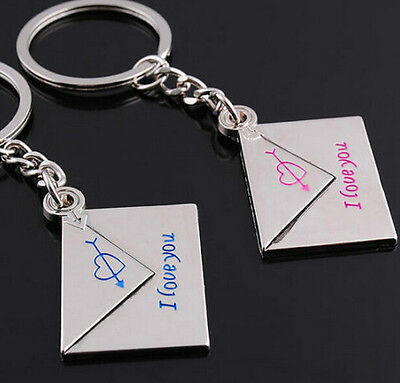 Fashion 1 Pair Loving Envelope Metal Keychain Keyring Keyfob Key Ring Gift