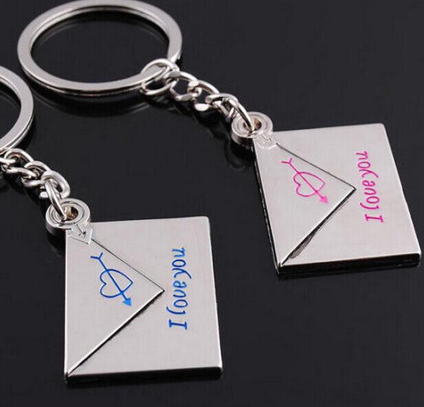 Hot  Fashion 1 Pair Loving Envelope Metal Keychain Keyring Keyfob Key Ring Gift