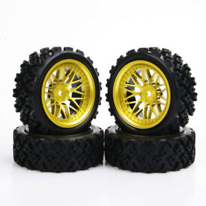 Details about 4Pcs 110 Rubber Tires Wheels Rim For HPI HSP RC Rally Racing Off Road Car Set