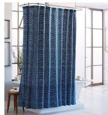 Item 1 Threshold Block Blue Navy White Scalloped Design Shower Curtain