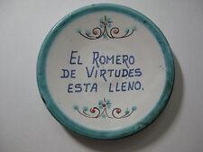 """Decorative 4"""" Plate Wall Decor Spanish Phrase """"El Romero de Virtudes Esta Lleno"""""""