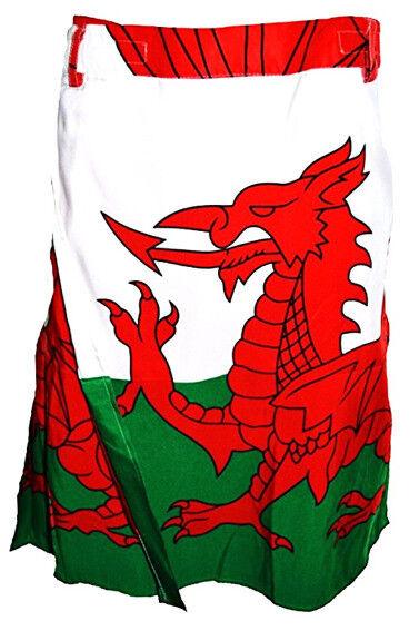NEW MEN'S NOVELTY WALES WELSH CYMRU 6 NATIONS RUGBY DRAGON ST DAVIDS FLAG KILT