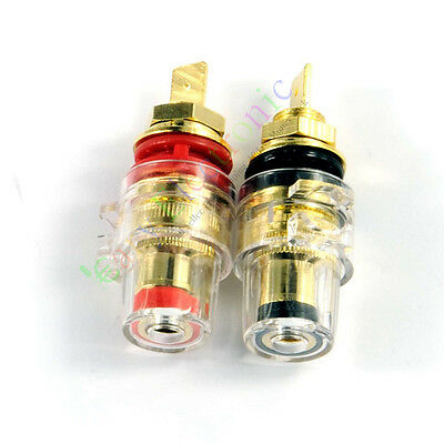 2pcs Gold Plated Copper Speaker cable amp Binding post for tube audio amp parts
