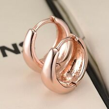 18k Women Rose Gold Filled Charms Smooth Earrings 15mm Hoop Huggie Vogue Jewelry